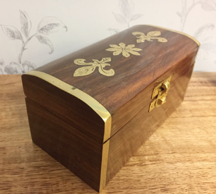 Medium Handcrafted Wooden Chest with Gold Inlaid Leaf Design